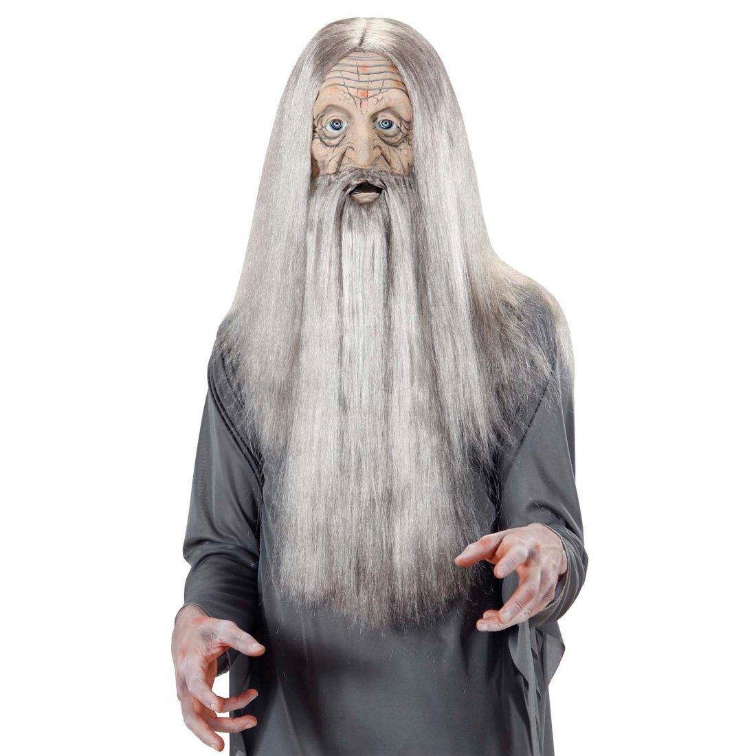 Máscara de abuelo de mil años con pelo viejo látex halloween mago: Amazon.es: Juguetes y juegos
