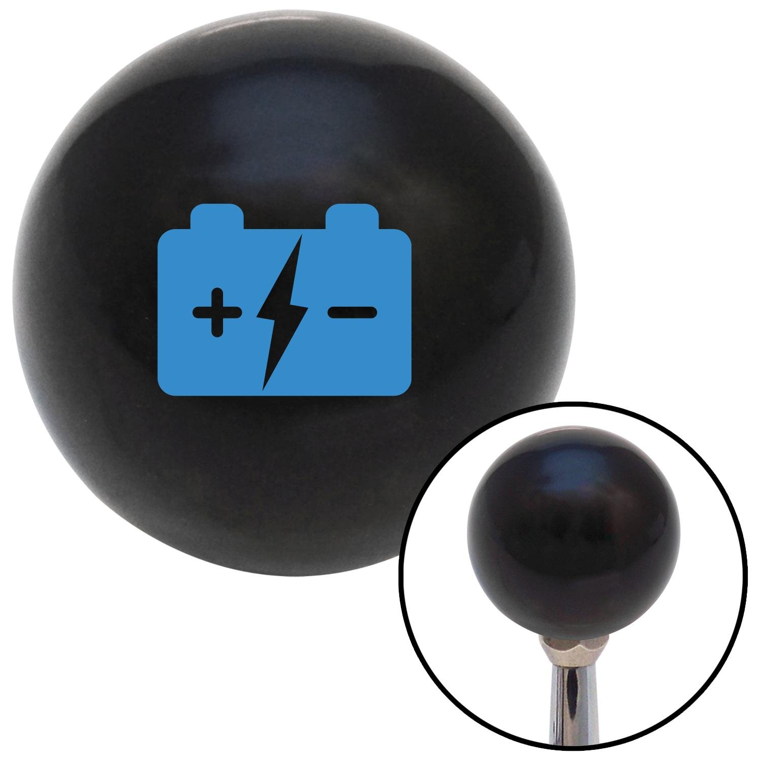American Shifter 103696 Black Shift Knob with M16 x 1.5 Insert Blue Battery Charge Symbol