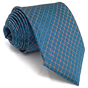 Shlax&Wing Mens Ties Checkered Blue Business Necktie Silk 57.5
