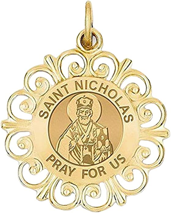 PicturesOnGold.com Saint Nicholas Oval Religious Medal 2//3 X 3//4 Inch Size of Nickel Solid 14K Yellow Gold