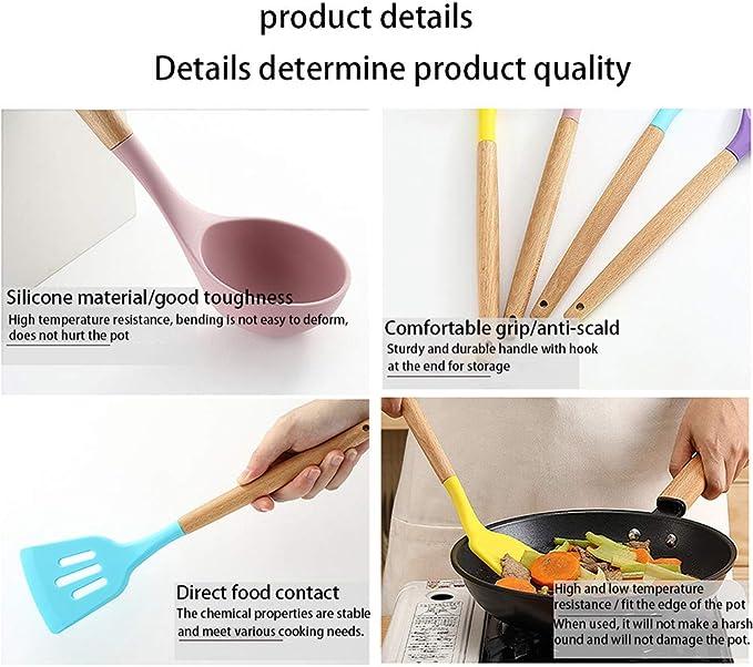 Silicone Anti-Rayures Anti-adh/ésif R/ésistant la Chaleur Set avec 13 S Crochets 14 Pi/èces Set Dustensiles de Cuisine en Silicone Kit Complet Ustensile Cuisine Noir Ustensiles de Cuisine en Silicone