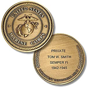 Personalized Custom Engraved United States Marine Corps- USMC - Premium Bronze - Challenge Coin - Medallion - 1 1/2 in (39mm) Round