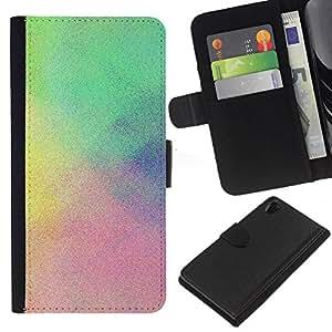 Niebla Lluvia colorida en colores pastel azul Clean- la tarjeta de Crédito Slots PU Funda de cuero Monedero caso cubierta de piel Para Sony Xperia Z2 D6502