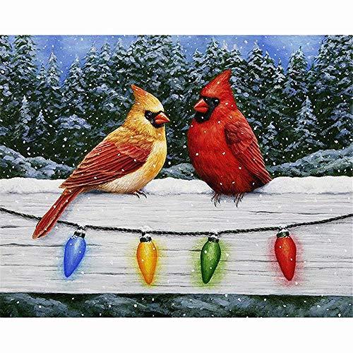 (Christmas Cardinal Bird5D Diamond Painting Embroidery Diy Paint-By-Diamond Kit Home Wall Decor 9.8X11.8)