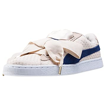 puma basket heart denim beige