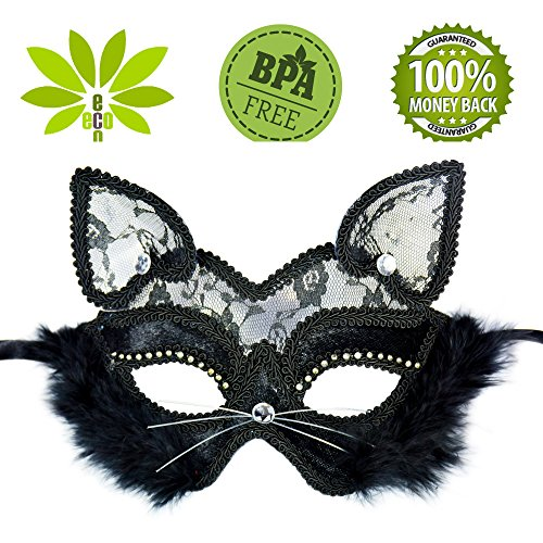 Lace masquerade mask sexy cat black face Halloween ball women costume (Lace Cat Mask)