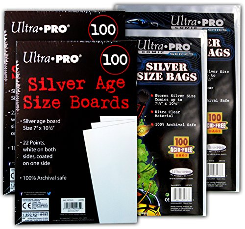 Ultra Pro Comic Bags (Ultra PRO Silver Size Comic Board & Comic Bag 2 Pack Bundle)