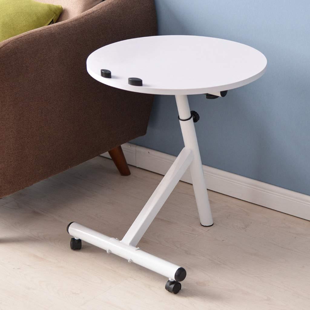 LIAN Tavolino da caffè Rimovibile, Moderno Tavolo da Salotto Minimalista, Multi-Funzione Tondo sollevabile (colore   Bianca)