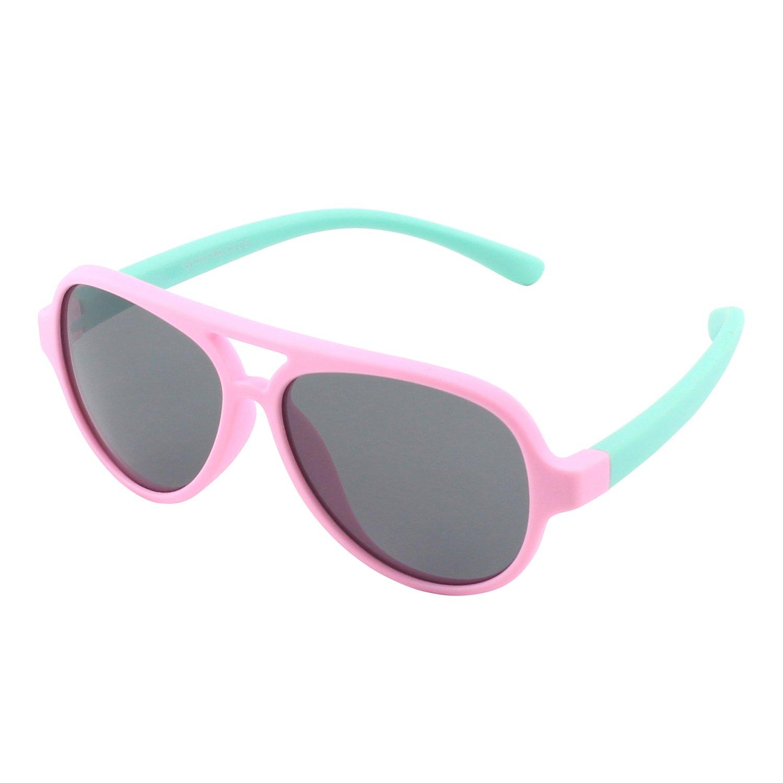 CGID Gummi Flexible Kinder Polarisierte Fliegerbrille Pilotenbrille für Baby und Kinder im Alter von 3-6, K93 CSFBAET893-8