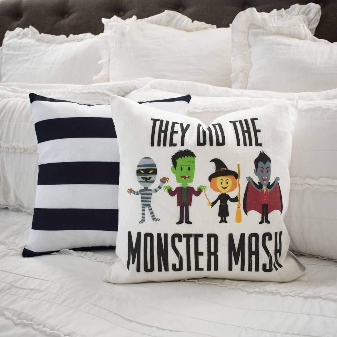 Almohada de Halloween sin marca, funda de almohada de Monster Mash, Happy Halloween, decoración de Halloween, almohada de otoño, Halloween, Halloween