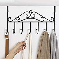 Over Door Hanger with 7 Hooks,Metal Over the Door Towel Hook,Decorative Overdoor Organizers ,Hanging Storage Rack for Hat,Coats,Purses,Scarves,Clothes,Jackets,Belt,Bedroom,Bathroom,Closet (Black)
