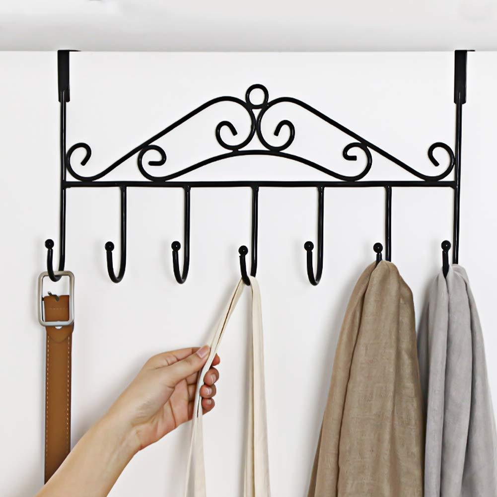 Over Door Hanger With 7 Hooksmetal Over The Door Towel Hookdecorative Overdoor Organizers Hanging Storage Rack For