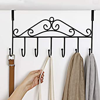 Bathroom Fixtures Adjustable Overdoor Strap Hanger Hat Bag Clothes Coat Rack Home Organizer 7 Hooks Home Bathroom Bedroom Supply