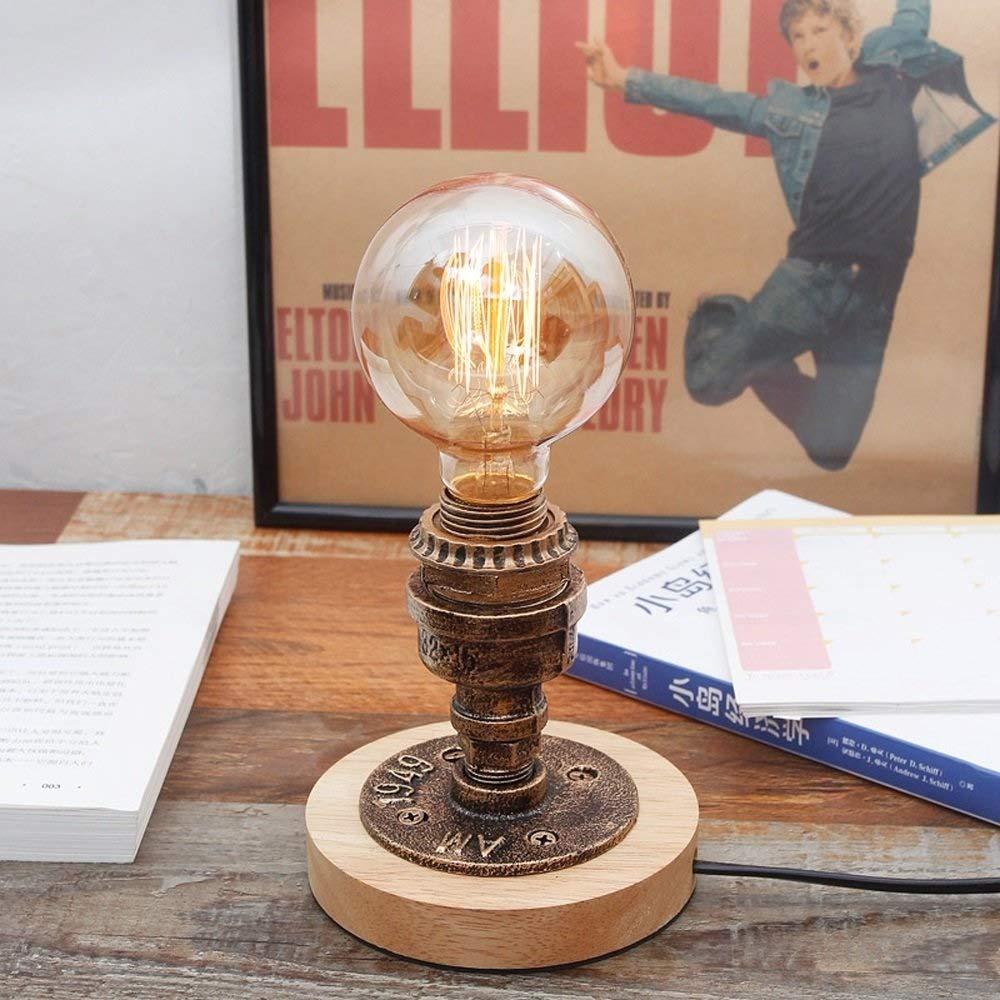 Steampunk Lámpara de mesa de hierro Lámpara de mesa vintage E27 ...