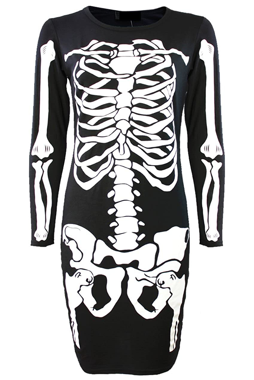 10591aa7faef Amazon.com: Momo Fashions Ladies Girls Halloween Skeleton Bodycon Dress  Leggings Bodysuit Plus USA Size 6-22: Clothing