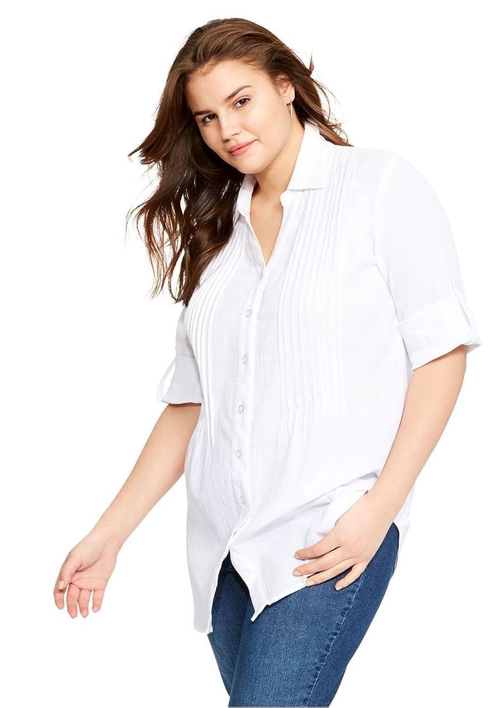 4c7f9d7f6 Top7: Woman Within Women's Plus Size Cool Gauze Pintuck Tunic