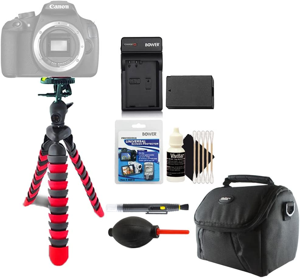 Flexible Tripod with Replacement LP-E8 Battery and Cleaning Kit for Canon T2i T3i T4i T5i DSLR Camera