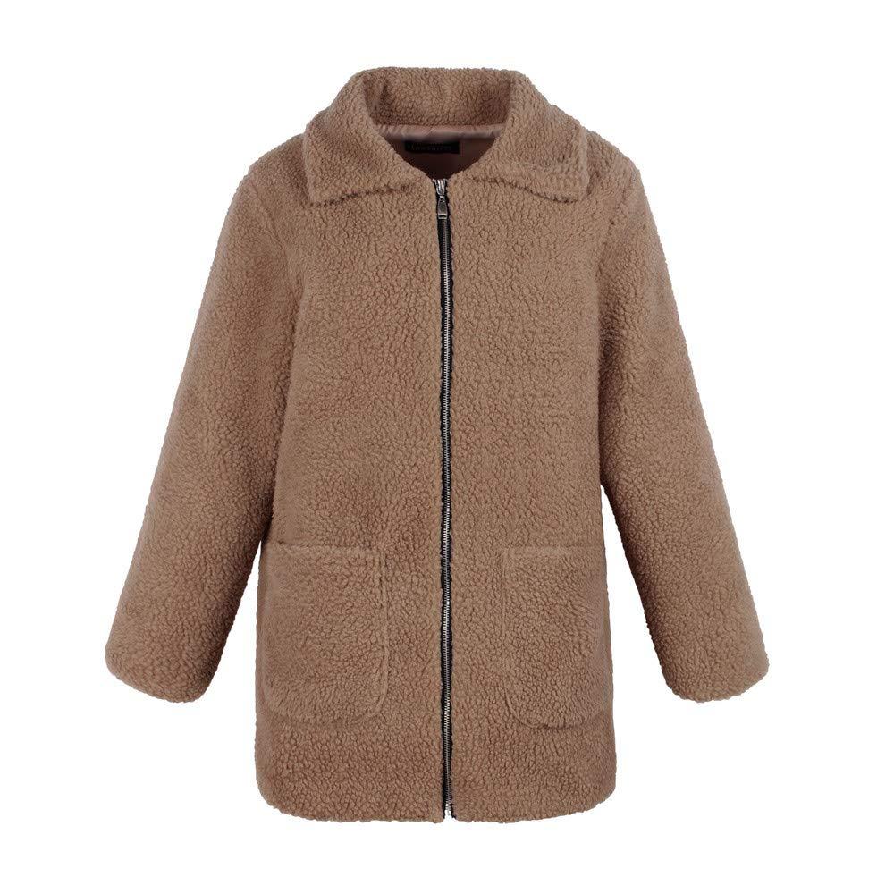 Auwer Womens Coat Casual Lapel Fleece Fuzzy Faux Shearling Zipper Coats Warm Winter Oversized Outwear Jackets
