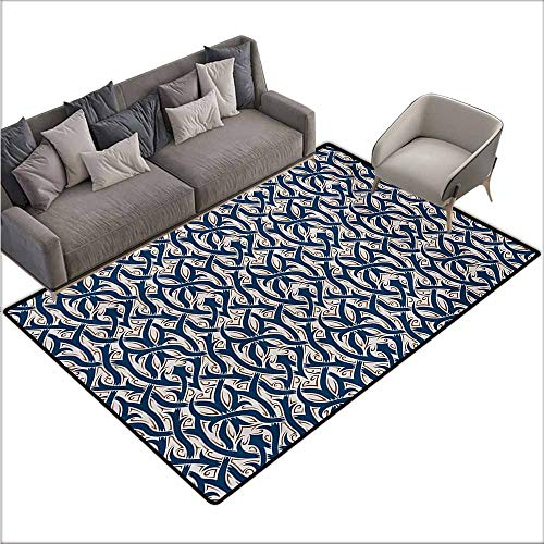 (Room Bedroom Floor Rug Gothic Floral Ornament Antique Retro Revival Pattern with Royal Abstract Curves Non-Slip Door mat pad Machine can be Washed W78 xL118 Dark Blue Brown White)