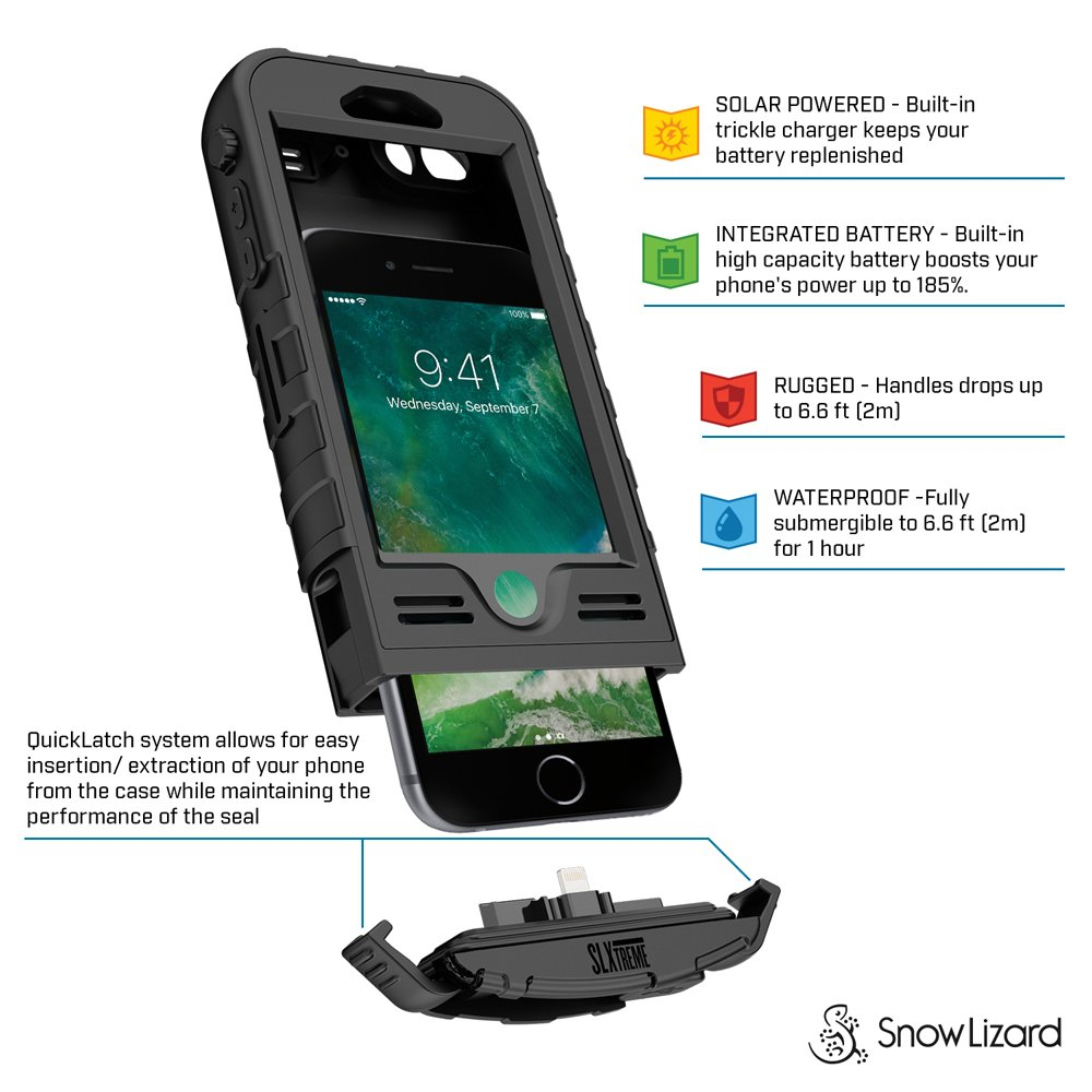 Snow Lizard Products Solar Charge, Waterproof Battery Case for iPhone 7/8 - Black by Snow Lizard Products (Image #3)