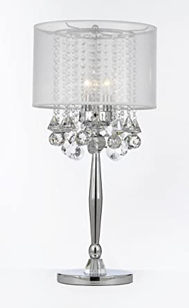 Silver Mist 3 Light Chrome Crystal Table Lamp with White Shade ...