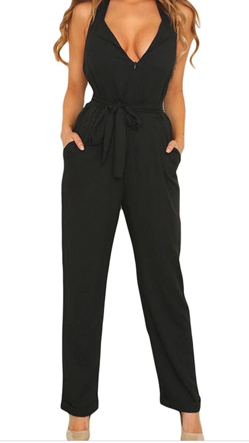 Christmas TomYork Halter V Neck Zipped Front Jumpsuit