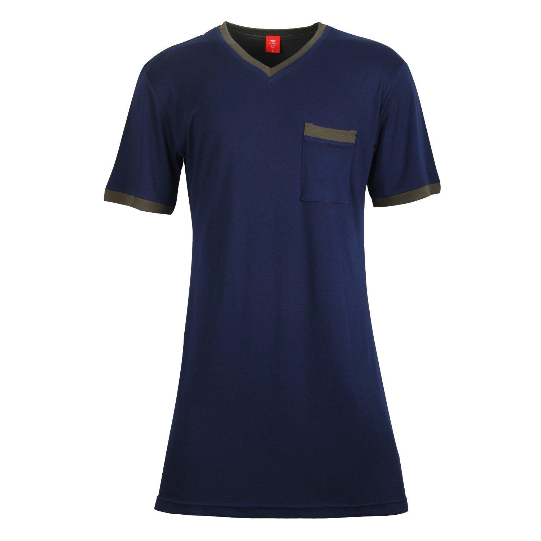 Godsen Men's 2-Packs Big & Tall Nightshirt Sleepwear Nightwear (XXXL, Deep Blue)
