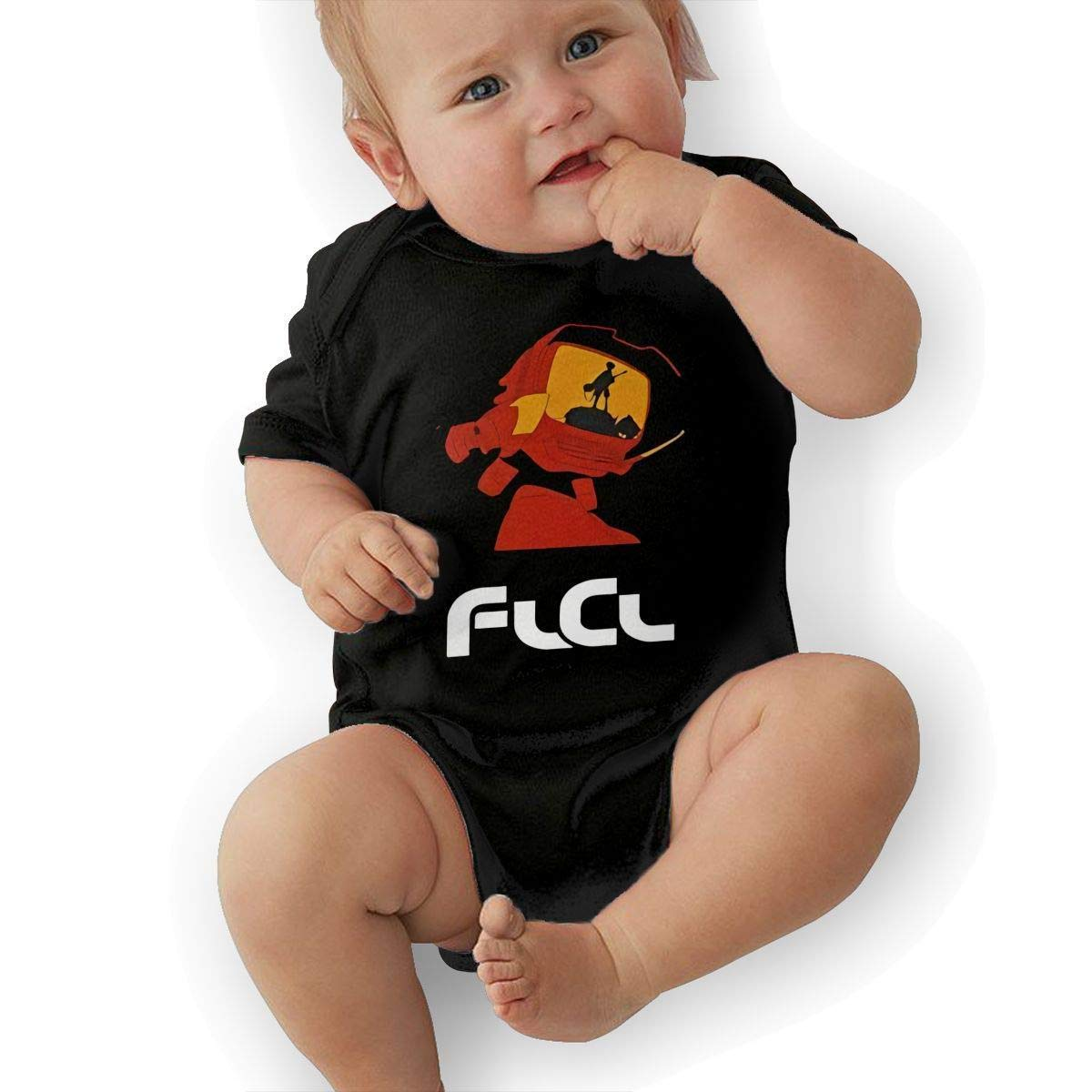 Infant Fooly Cooly FLCL Cat Adorable Soft Music Band Jersey Creeping Suit,Black,12M