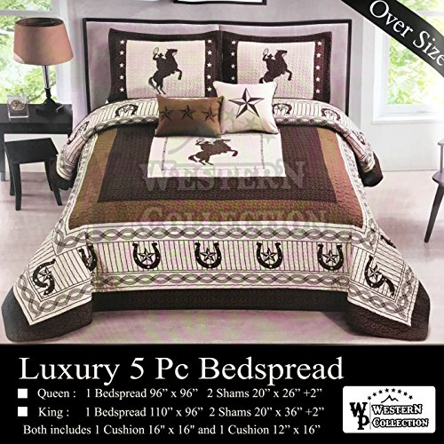 Luxury Star Comforter Set - Western Collection New 5 Pieces Western Stars and Horses Cowboy Luxury Home Quilt Bedspread Oversize Comforter with Cushions (King, Beige Horse)