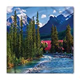 Nature Bandana by Ambesonne, Pipestone River Rushes Past Log Lake Louise Village Banff National Park, Printed Unisex Bandana Head and Neck Tie Scarf Headband, 22 X 22 Inches, Forest Gren Turquoise