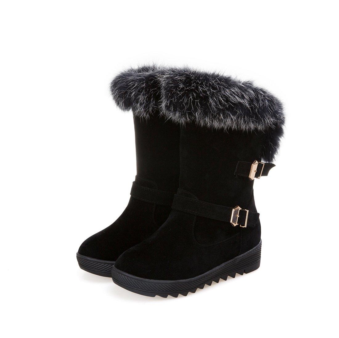 Mostrin Women's Round Toe Platform Short Boots Winter Faux Fur Buckle Waterproof Warm Snow Boots