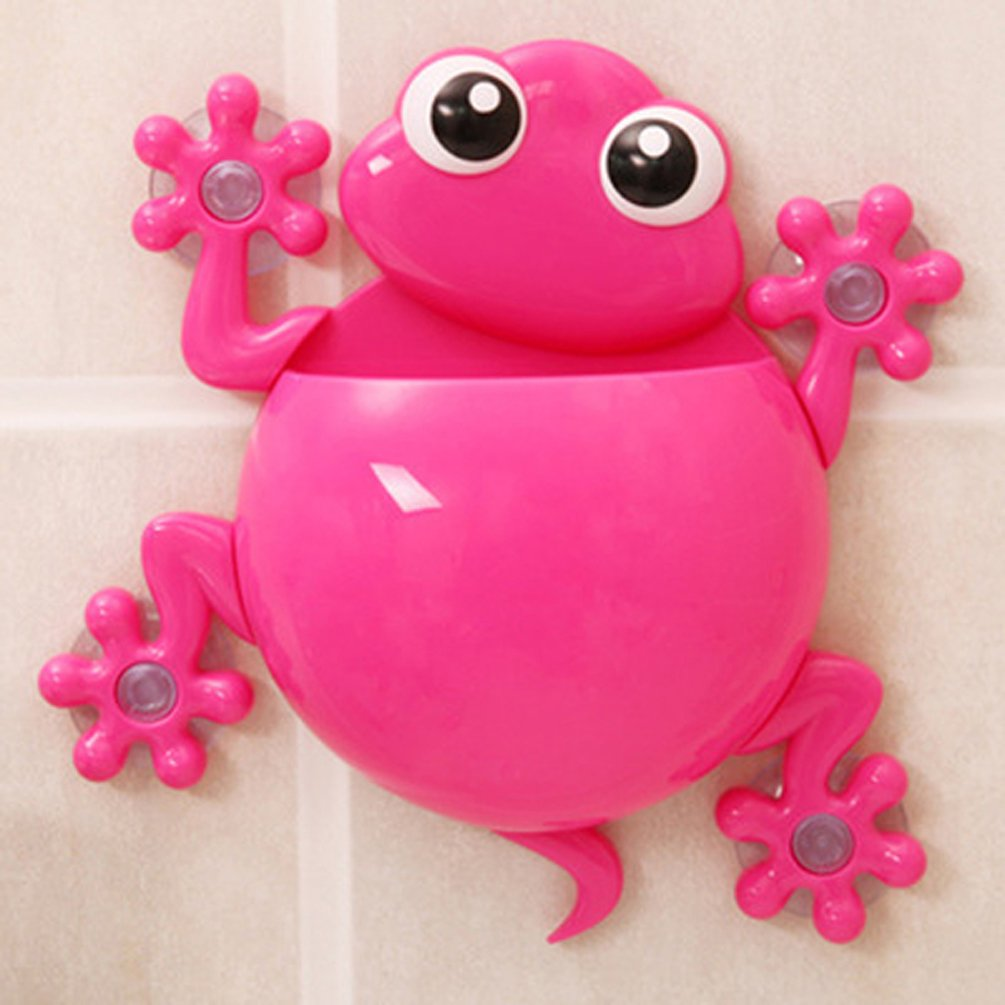 A_GOUGU Great Rose Red Cartoon Sucker Gecko Toothbrush Holder Wall for Children's Bathroom Accessory Sets 1 Pcs
