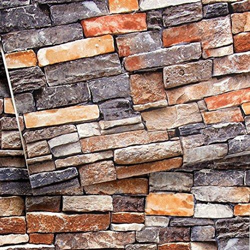 3D Brick Stone Wallpaper Textured Waterproof Livingroom Kitchen 208In X 328Ft