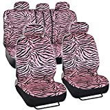 BDK Zebra Auto Seat Covers - Front & Rear Full Set, Auto Accessories for Women (Pink)