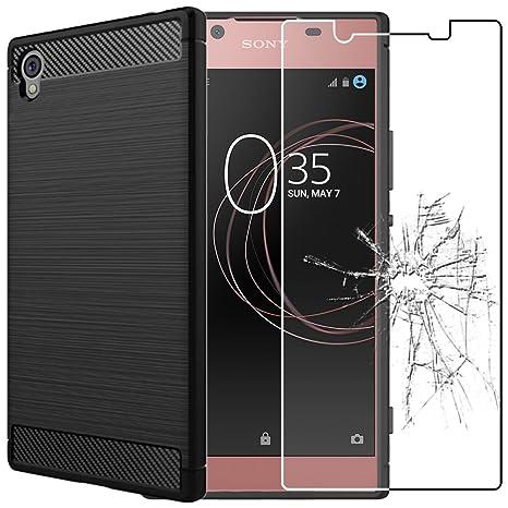 ebestStar - Funda Sony Xperia L1, L1 Dual Carcasa Silicona Gel, Protección Diseño Fibra Carbono Premium Ultra Slim Case, Negro + Cristal Templado ...