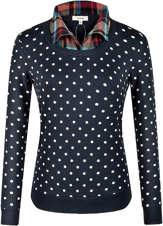 Haililais Mujer Camisa Solapa Hipster Camisetas de Manga Larga Sudaderas Ocasionales Caída Sueter Delgada Blusas Tops Puntos Elegantes: Amazon.es: Ropa y accesorios