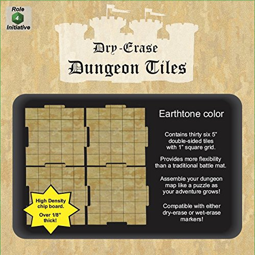 Role 4 Initiative Dry Erase Dungeon Tiles, Earthtone, Set of 36 five-inch interlocking squares for role-playing and miniature tabletop games (Squares Erase Dry)