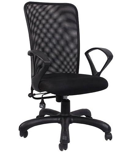 Hetal Enterprises Mesh Metal Medium Back Office Chair (Black)