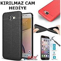 For Samsung Galaxy J7 Prime Kılıf SM-G610 Shockproof Case Silikon Modeli + Kırılmaz Cam Hediye