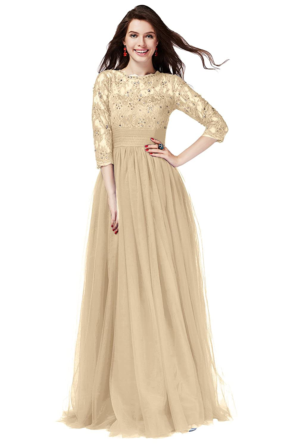 Champagne Long QY Bride Gorgeous Lace Bridal Party Dresses for Bridesmaid 3 4 Sleeve