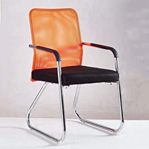 GTD-RISE Computer Desk Chair,Bow Mesh Chair Office Chair Staff Conference Chair Work Chair with Armrest for Home Chair (Color : Orange)