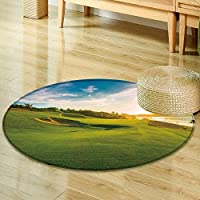 Print Area rug sand bunkers at the beautiful golf course at the ocean side at sunset sunrise Perfect for any Room, Floor Carpet -Round 47