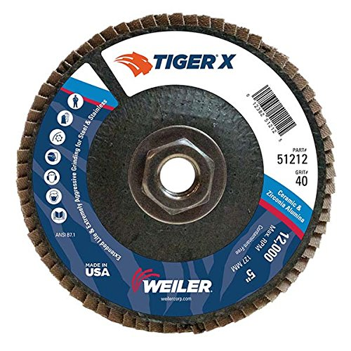 Weiler 51212 Tiger X Flap Disc, Ceramic and Zirconia Alumina, Angled, Phenolic Backing, 40 Grit, 5, 5/8-11 UNC Nut (Pack of 10) by Weiler  B00YXD7ZIK