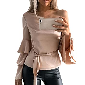 a59228b08e0 Amazon.com  Kimloog Women s One Off Shoulder Layered Bell Sleeve Bow ...