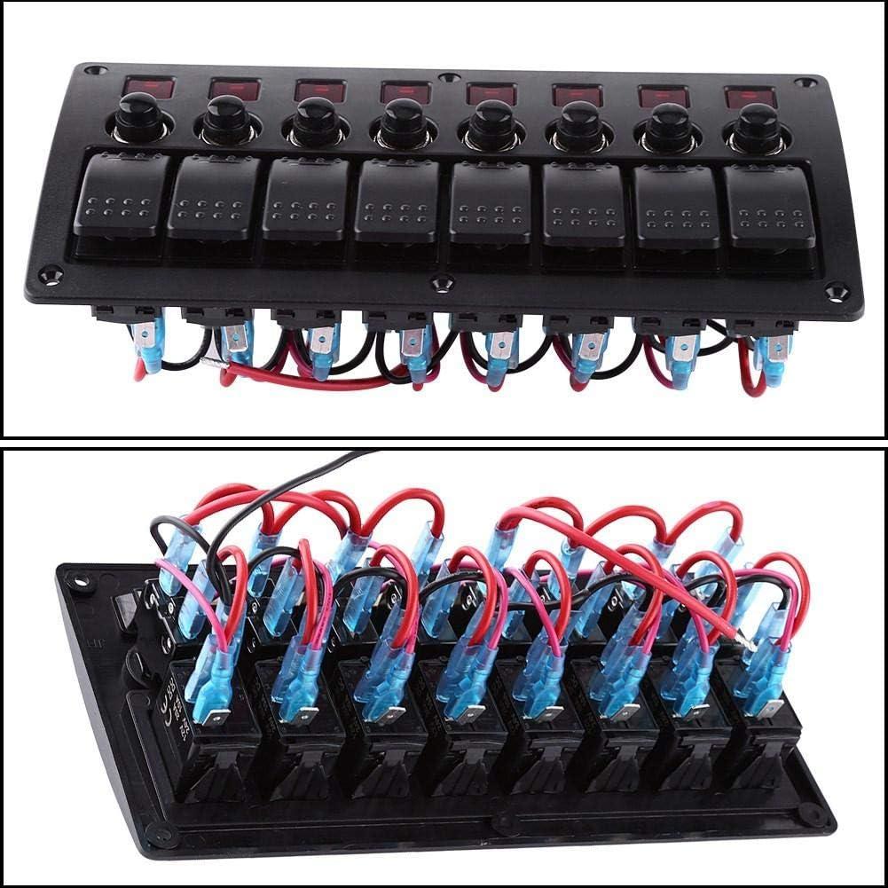 8-fach LED-Wippschalterfeld Wasserdichtes Auto-Schalterfeld f/ür die meisten Autos Anh/änger Schiffe Boote Yachten Wohnwagen Busse Roter 12-24V-Wippschalter
