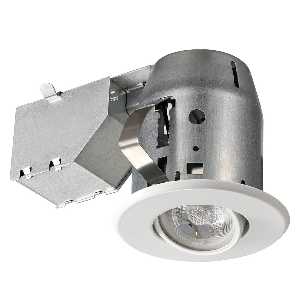 3'' Dimmable Downlight Swivel Spotlight Recessed Lighting Kit, IC Rated with LED Bulb, Easy Install Push-N-Click Clips, Globe Electric 90679