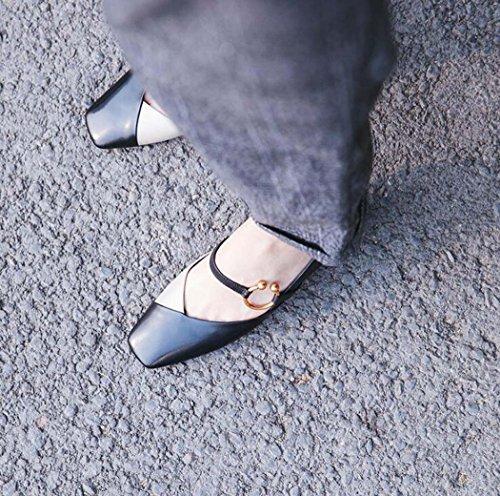 Tamaño Bombas Cuadrada Sueltos Negra Zapatos de 38 Marrón Tacón Zapatos Talla Hebilla Punta con de 34 de Verde 39 bajo Zapatos Mujer Negro Color EwSEBqX