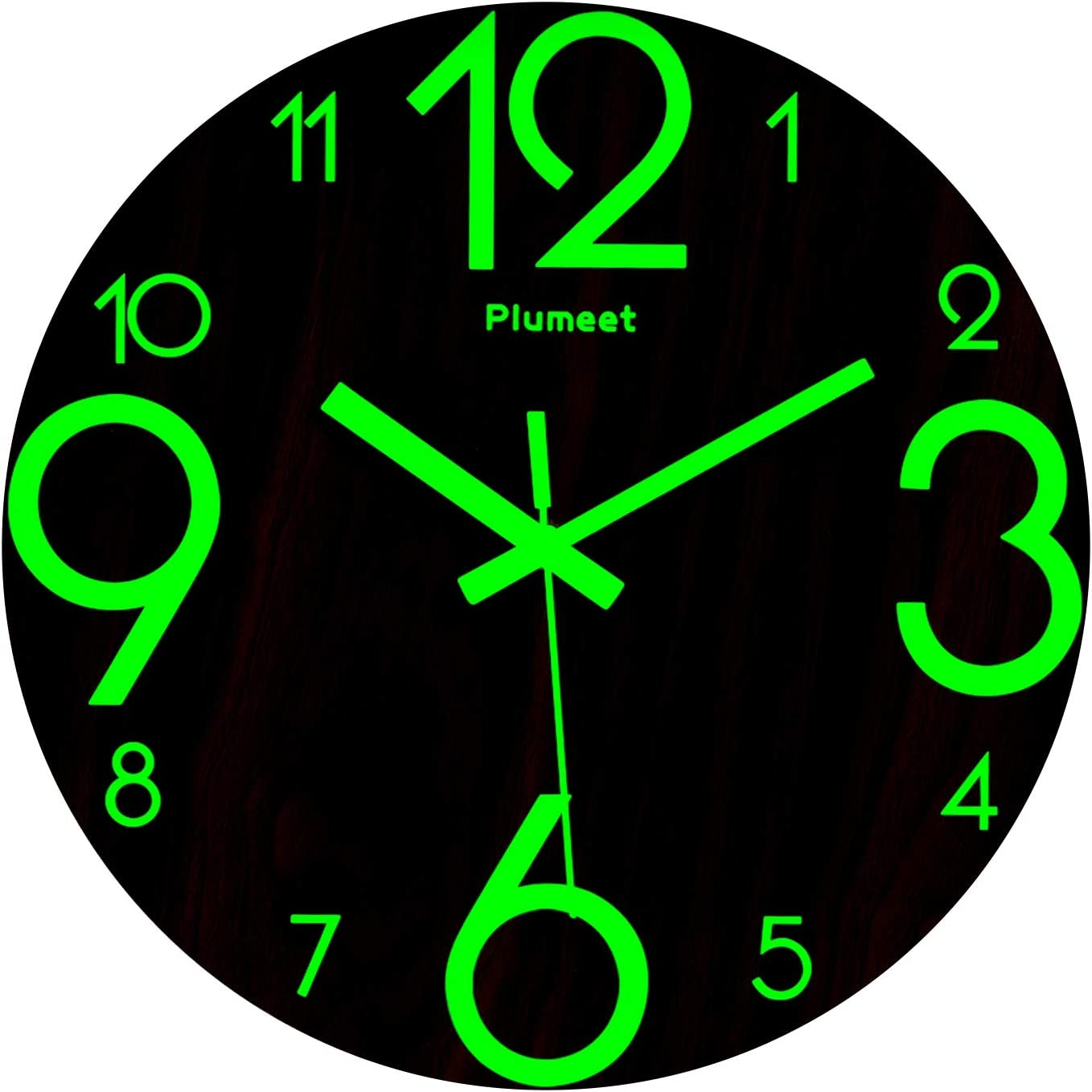 Plumeet Luminous Wall Clocks - 12'' Non-Ticking Silent Wooden Clock with Night Light - Large Decorative Wall Clock for Kitchen Office Bedroom (Wood)