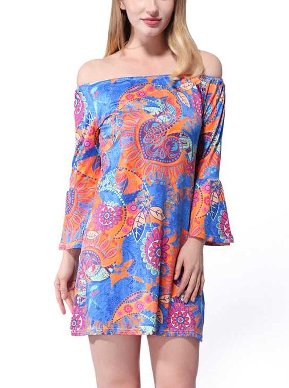 SMITHROAD Damen Minikleid mit Muster Boho Tunika 3/4 Arm mit Stretch Bunt:  Amazon.de: Bekleidung