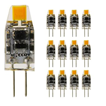 12 x G4 Bombilla LED blanco cálido 1.5 W 110 – 130LM sustituye a 10 W